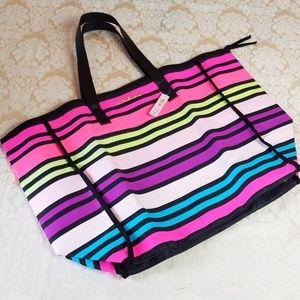 Victorias Secret Big Colorful Striped Tote